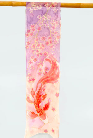 Blush Pink Chiffon Scarf, Red Koi and Coral Pink Cherry Blossoms