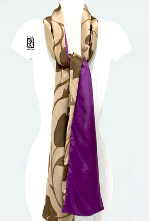 Charmeuse Long Silk Scarf, Purple and Mocha Brown Vine