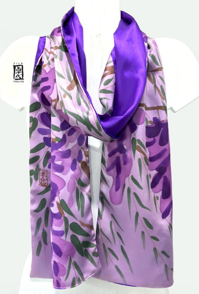 Charmeuse Silk scarf, Purple Wisteria