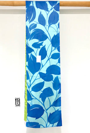 Charmeuse silk scarf, Green and Blue Karakusa Vine