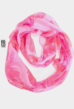 Chiffon Loop Scarf, Pink Feathers