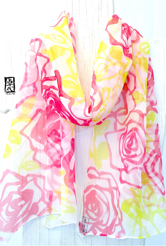 Chiffon Scarf, Chartreuse Green and Red Rose