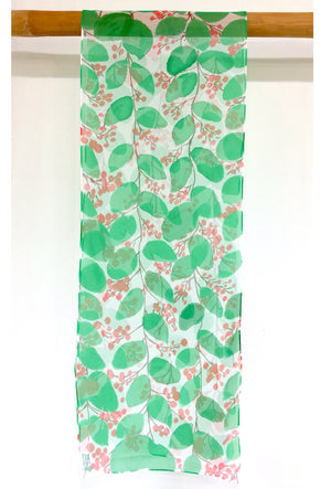 Chiffon Scarf, Evergreen with Red Berries