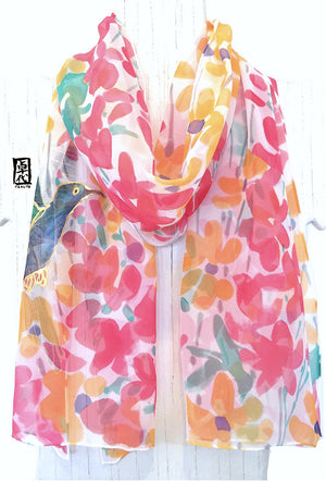 Chiffon Scarf, Green Hummingbird, Red, Orange Floral