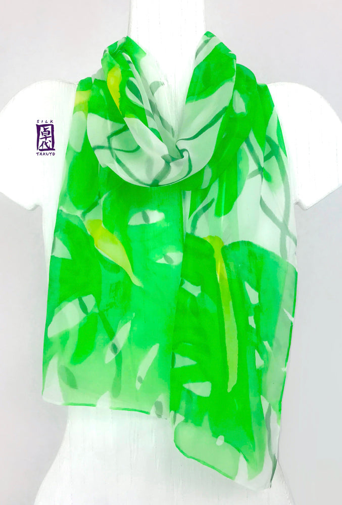 Chiffon Scarf Green Tropical Leaf Print