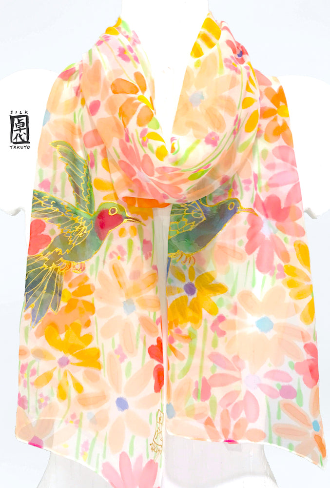 Chiffon Scarf, Hummingbirds with Coral Pink, Orange and Yellow Wildflowers