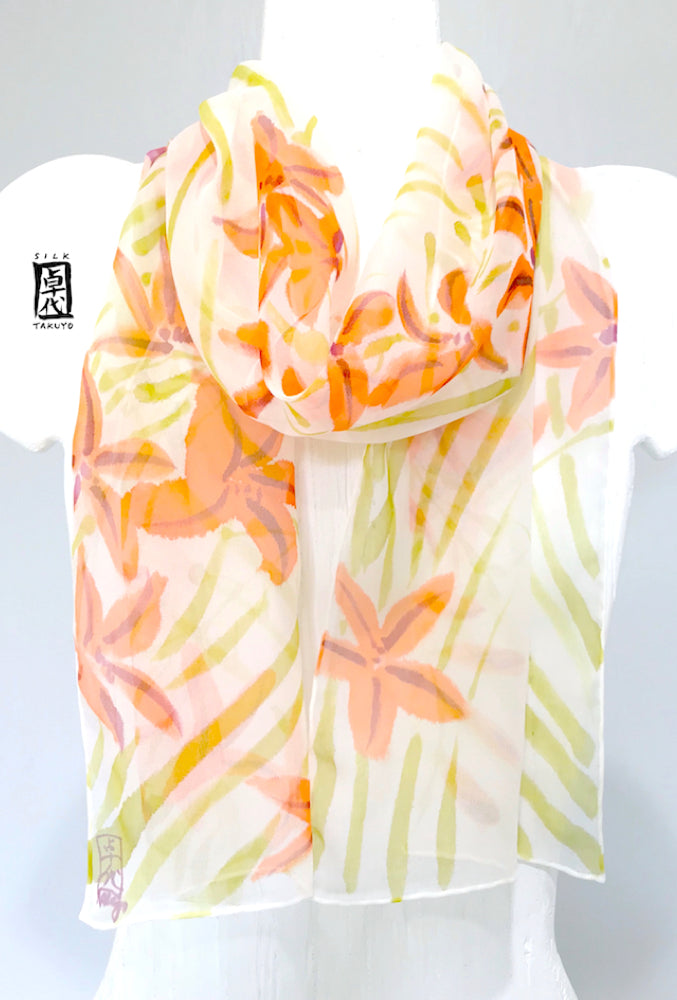 Chiffon Scarf, Orange Freesia