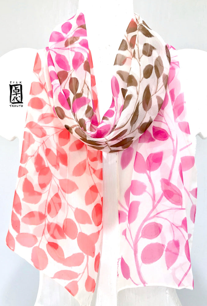 Chiffon Scarf, Pink, Brown, Red Vines