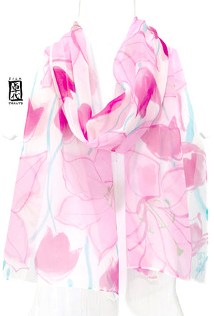 Chiffon Scarf, Pink Spring Lily and Tulip flowers