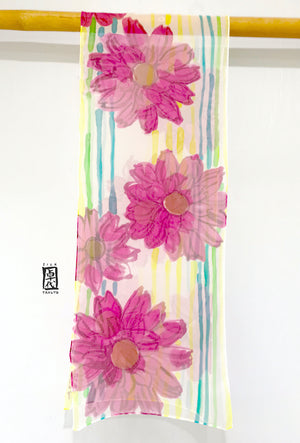 Chiffon Scarf, Pink Summer Daisy Party