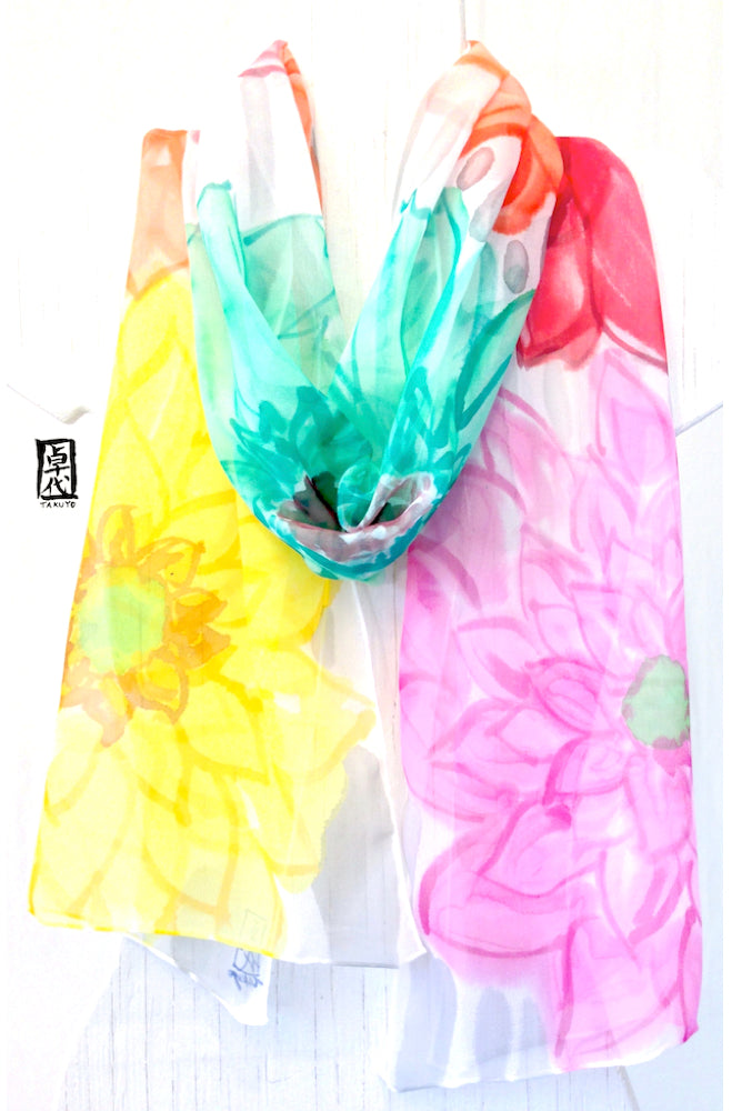 Chiffon Scarf, Rainbow Garden Party