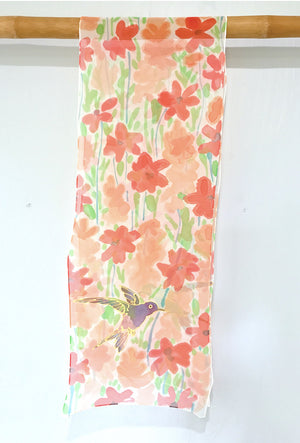 Chiffon Scarf, Red and Orange, Hummingbirds
