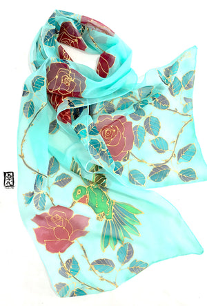 Chiffon Scarf Silk Mint, Hummingbirds and Red Roses