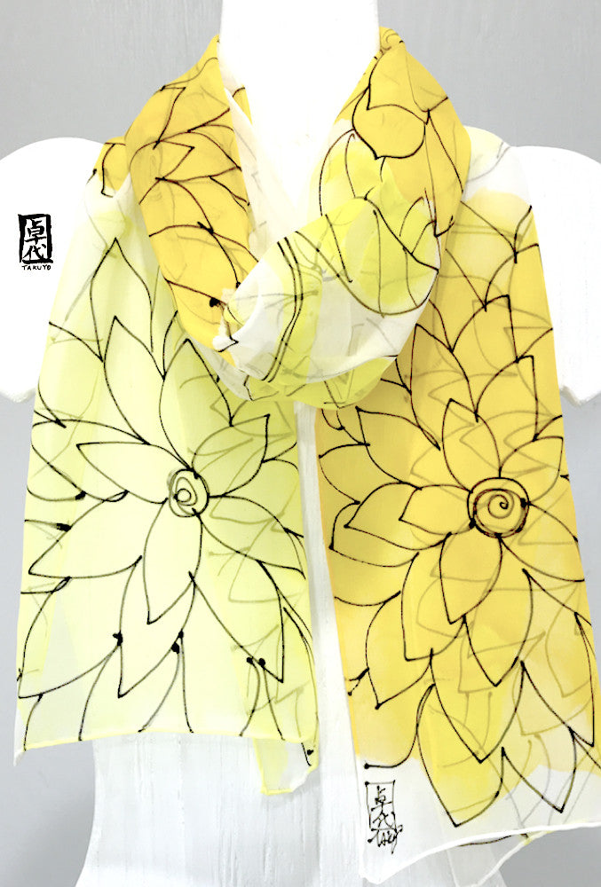 Chiffon Scarf, Sunny Yellow Floral