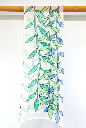 Chiffon Scarf, Wood Cut Art Vine, Blue and Green