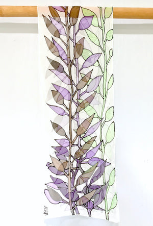 Chiffon Scarf, Wood Cut Art Vine, Purple