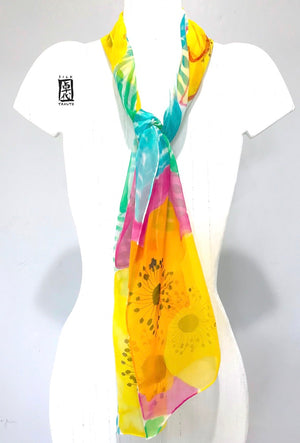 Chiffon Scarf, Yellow Garden Flowers