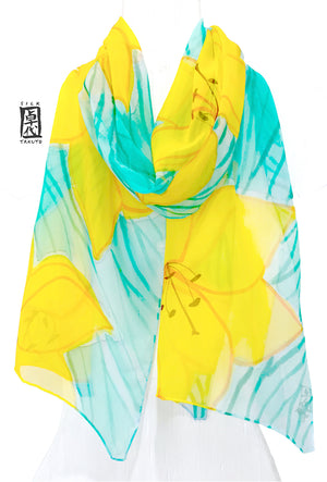 Chiffon Scarf, Yellow Lily Flowers