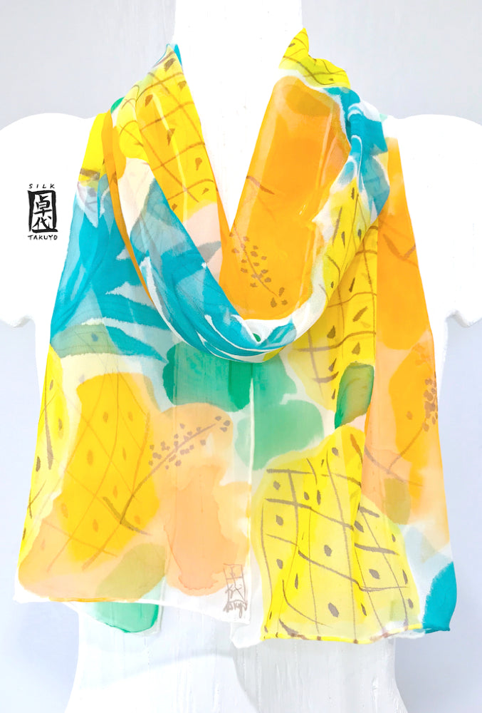 Chiffon Scarf, Yellow Pineapple Print scarf