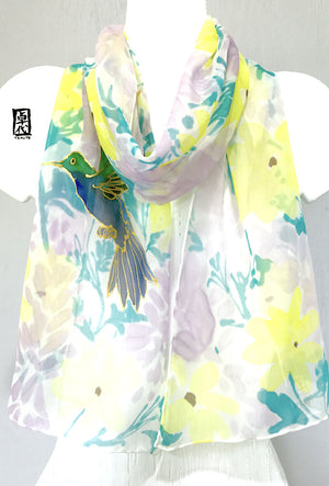 Chiffon Scarf, Yellow & Purple Hummingbird