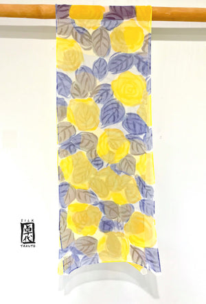 Chiffon Scarf, Yellow and Navy Roses