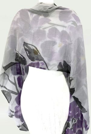 Chiffon Silk Evening Shawl Gray, Purple Sumi Peony Silk Shawl