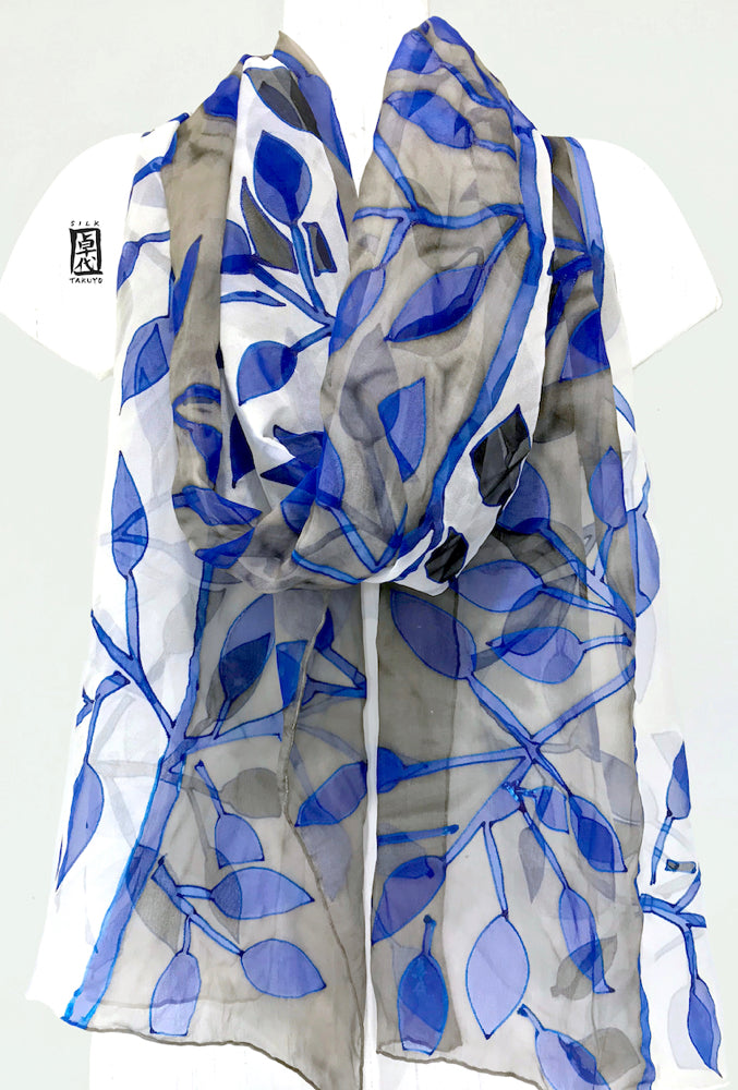 Chiffon Silk Shawl, Blue and White Woodcut Vines