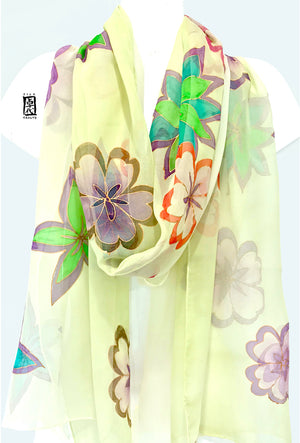 Chiffon Silk Shawl, Spring Flower Festival in Light Green