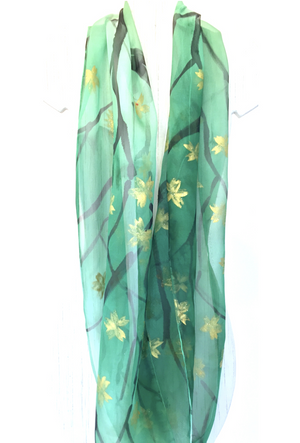Circle Scarf Green, Gold Cherry Blossoms