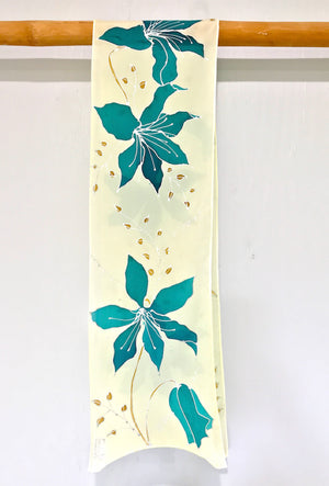 Clematis Vine Scarf in Turquoise Blue