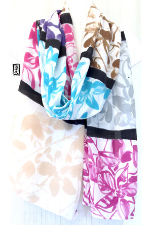 Crepe Silk Wrap, Colorblock Tropical Orchids in Pink and Blue