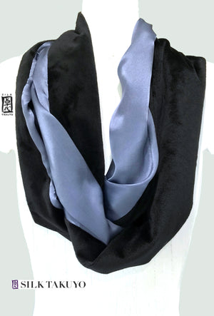 Plush Cuddly Loop Scarf in Gray and Black with Silk Charmeuse Reversible