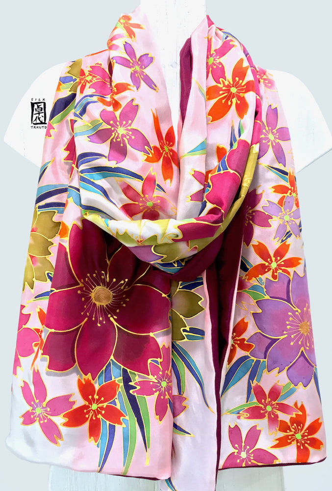 Evenning Silk Shawl Wrap Reversible, Spring Cherry Blossom Festival in Pink and Plum