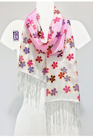 Fringed Silk Scarf Pink Ombre Cherry Blossom