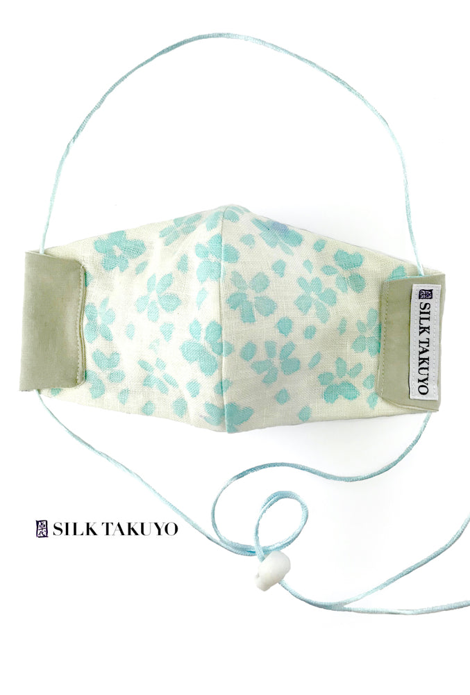 Hand Painted Pastel Blue Sakura Linen Face Mask