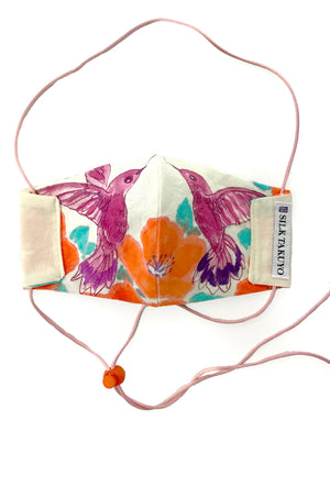 Hand Painted Pink Hummingbird Organic Cotton Face Mask