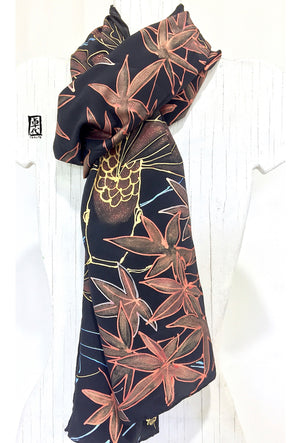 Hand Painted Silk Koi Scarf with Japanese Maple