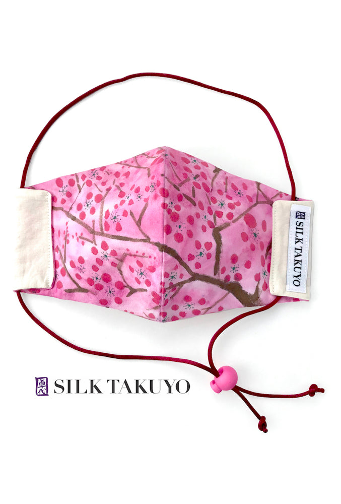 Hand Painted Silk and Organic Cotton Face Mask, Pink Cherry Blossom