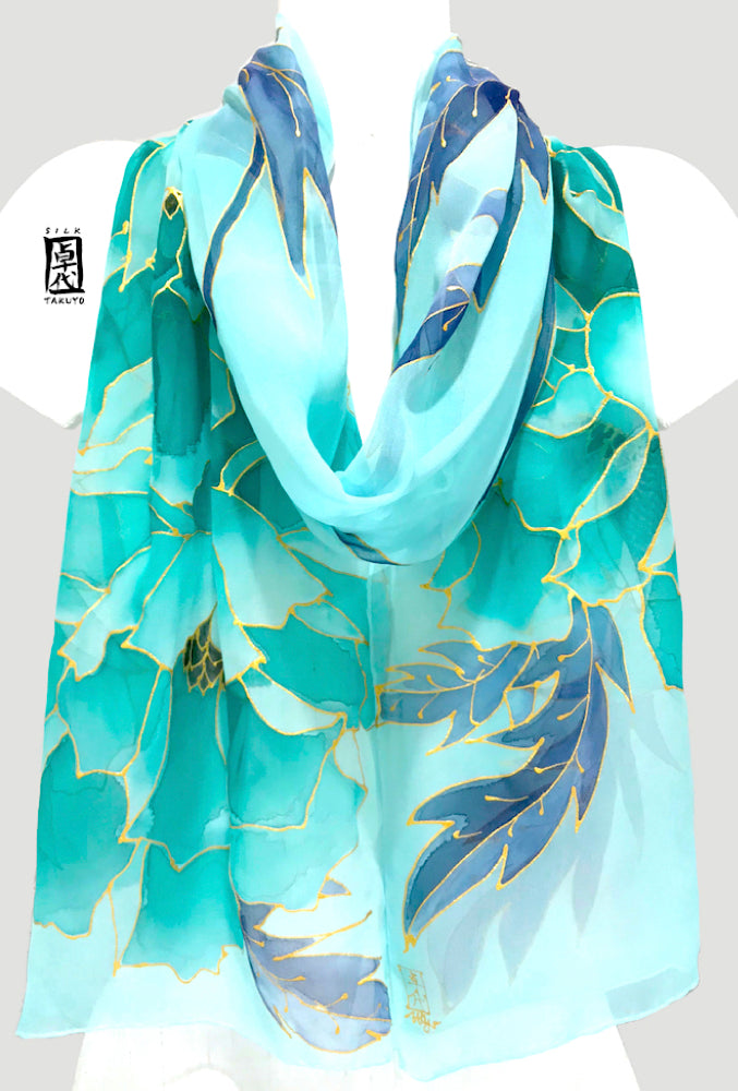 Hand Painted Silk Scarf, Mint Peony