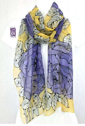 Hand Painted Silk Scarf Mustard, Purple Rose