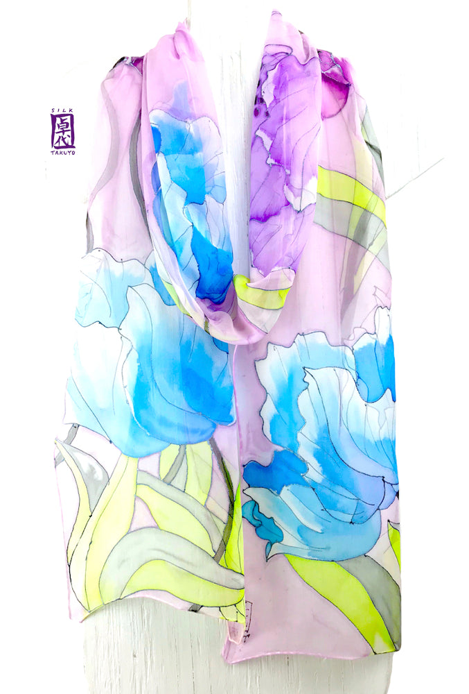 Hand Painted Silk Scarf, Pastel Purple Tulip Scarf