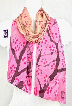 Hand Painted Silk Scarf, Pink Ombre Cherry Blossom