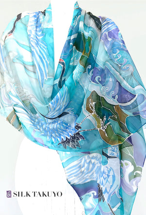Hand Painted Silk Shawl, White Crane Birds and Blue Ocean Waves