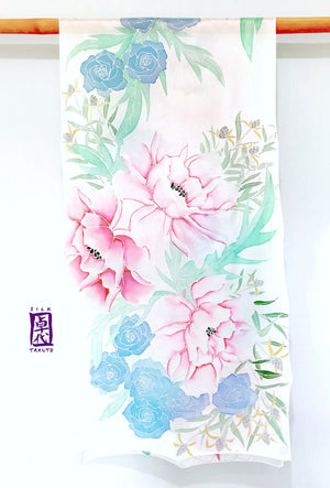 Hand Painted White Silk Shawl, Pink and Silver Peony