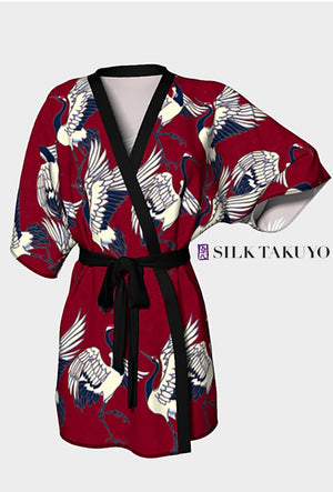 Japanese Kimono Robe Red Crane and Chrysanthemum