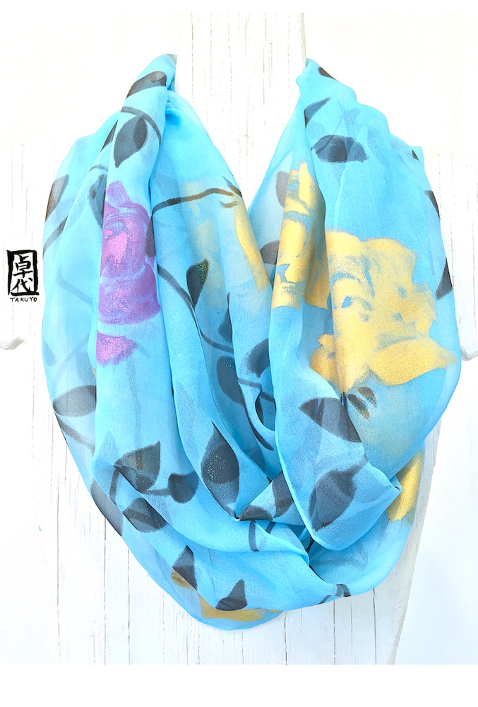 Large Blue Chiffon Loop Scarf, Rose Vine in Purple and Gold