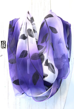 Large Chiffon Loop Scarf, Black Vine in Purple Ombre