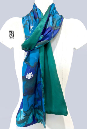 Long Charmeuse silk scarf, Reversible Blue and Green Sumi Peony