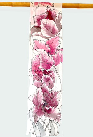 Long Chiffon Scarf, Woodcut Tulips in Burgundy and Pink