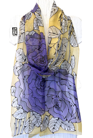 Long Chiffon Scarf Yellow, Purple Roses